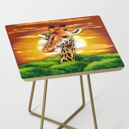 Giraffe on Wild African Savanna Sunset Side Table