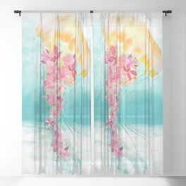 Jellyfish with Flowers Sheer Curtain