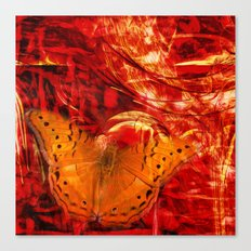 Butterfly in red universe Canvas Print