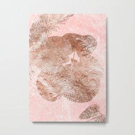 Rose golden leaves Metal Print