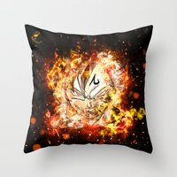vegeta Throw Pillows featuring Goku Vegeta DBZ Face by K2idesign