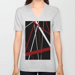 Red and White Stripes on A Black Background Unisex V-Neck