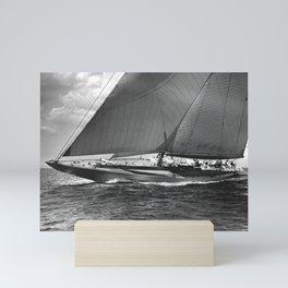 12-meter Sailing Yacht America's Cup Races nautical black and white photograph Mini Art Print