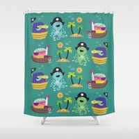 pirates Shower Curtains featuring Pirates by Maria Jose Da Luz