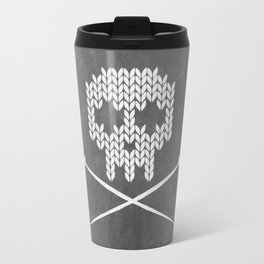 Knitted Skull (White on Grey) Travel Mug