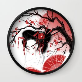 Red Geisha Wall Clock