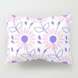 Pastel pink violet hand painted daisies floral pattern Pillow Sham