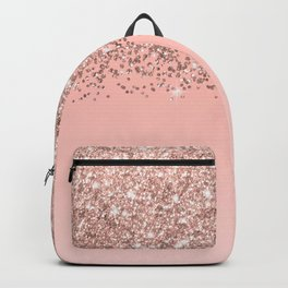 Girly Rose Gold Confetti Pink Gradient Ombre Backpack