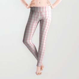 Small White and Light Millennial Pink Pastel Color Gingham Check Leggings
