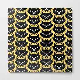 Mid Century Modern Cat Black Yellow Metal Print