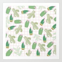 Pastel pink florest green geometrical cactus floral Art Print