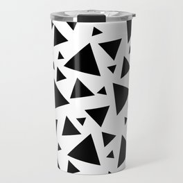 Memphis Milano style pattern with triangles, black and white triangle pattern print Travel Mug