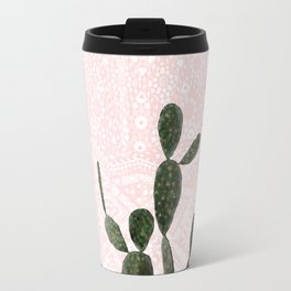Cactus on Concrete and Pink Persian Mosaic Mandala Wall Travel Mug