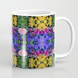 Floral Spectacular: Blue, Plum, Gold - square repeating pattern, Olbrich Botanical Gardens, Madison Coffee Mug