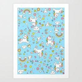 Unicorn Light Blue Pattern Art Print