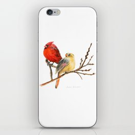 The Perfect Pair - Male and Female Cardinal by Teresa Thompson iPhone Skin