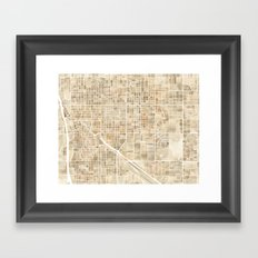 Tucson Arizona watercolor map Framed Art Print