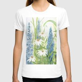 Watercolor Botanical Garden Flower Wildflower Blue Flower Garden T-shirt