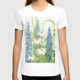Watercolor Botanical Garden Flower Wildflower Blue Flower Garden T-shirt
