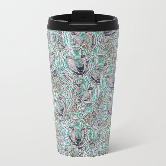 Power Wolf Pattern Metal Travel Mug