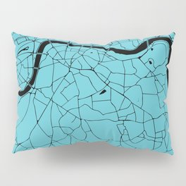 London Turquoise on Black Street Map Pillow Sham