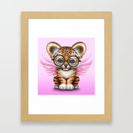 Tiger Cub with Fairy Wings Wearing Glasses on Pink Framed Art Print