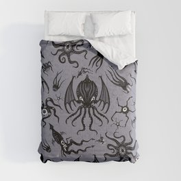 Cosmic Horror Critters in Twilight Zone Glow Comforters