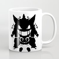 gengar Mugs featuring Who's That Inkblot?  It's Gengar! by DelverStudios