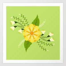 Summer Bouquet: Green Art Print