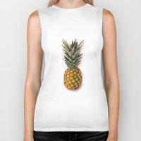 pineapple Biker Tanks featuring Pineapple by Marta Li
