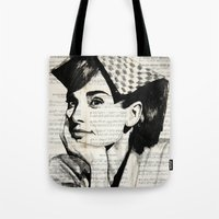 audrey Tote Bags featuring Audrey by Krzyzanowski Art