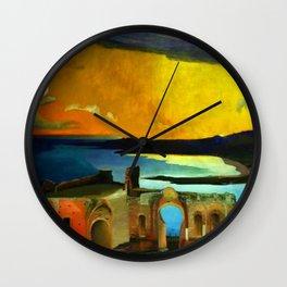 Taormina, Sicily Greek Ruins at Sunset by Csontvary Kosztka Tivadar Wall Clock