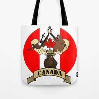 canada Tote Bags featuring CANADA by scarah