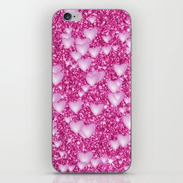Hearts on sparkling Glitter Print,pink iPhone Skin
