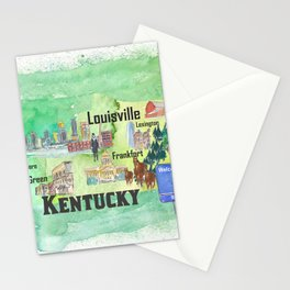 Kentucky USA State Illustrated Travel Poster Favorite Tourist Map Stationery Cards