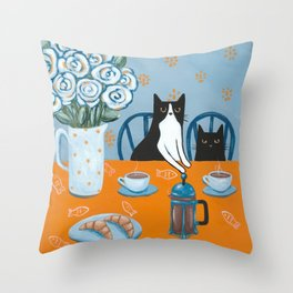 Cats and a French Press Throw Pillow