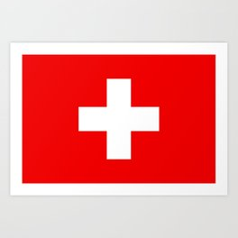 Flag of Switzerland - Authentic (High Quality Image) Art Print