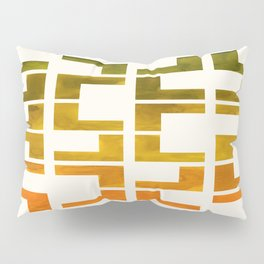 Geometric Pattern L Shaped Watercolor Painting Olive Green Yellow Ochre Colorful Pattern Art Pillow Sham