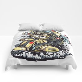 Smoke Skull Driver Moped - Texas cigar Comforters
