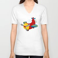 plane V-neck T-shirts featuring plane by Alapapaju