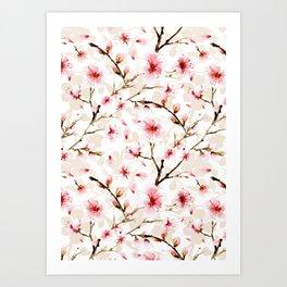 Watercolor cherry blossom pattern Art Print