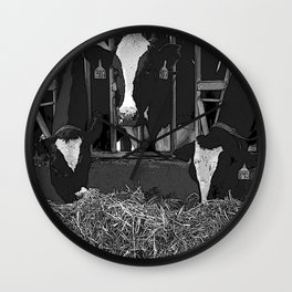 Black & White Cattle Feeding Pencil Drawing Photo Wall Clock
