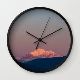 Sunset on Mount Baker Wall Clock