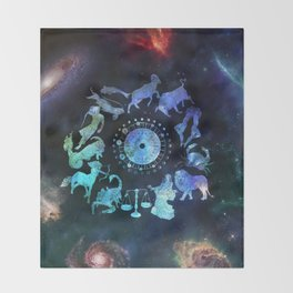 As Above, So Below - Zodiac Illustration Throw Blanket