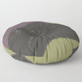 Abstract Bat - Black and Green, Abstract Landscape, Animal Illustration Floor Pillow