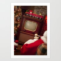 Santa Claus at home watching his vintage TV Art Print
