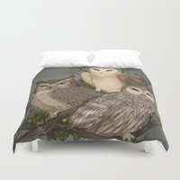 owls Duvet Covers featuring Owls by Jessica Roux