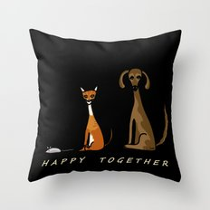 Happy Together - Black Throw Pillow