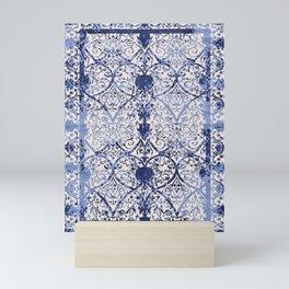 Bleu Vintage Oriental Moroccan Carpet Mini Art Print