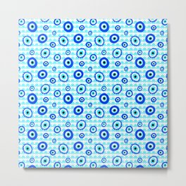 Evil Eye Symbol Blue White Pattern Metal Print